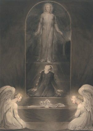 William Blake, 'Mary Magdalen at the Sepulchre' (c.1805). Watercolor with pen and ink on paper. 17 1/4 x 12 1/4 inches (43.8 x 31.1 cm). Yale Center for British Art, Paul Mellon Collection.  http://collections.britishart.yale.edu/vufind/Record/1670856