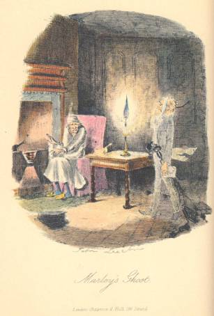 Marley's Ghost — John Leech 1843 Hand-coloured steeling engraving 9 .8 x 8 cm vignetted Dickens's A Christmas Carol, first edition (1843). Leech's illustration captures the precise moment when the miser, in nightgown and sitting down before his fitful fire to enjoy a bowl of gruel, encounters the ghost of his dead partner. Scanned image and text by Philip V. Allingham. http://www.victorianweb.org/art/illustration/carol/2.html Image courtesy of Toronto bibliophile and Dickens collector Dan Callinescu. Full-page illustration for Dickens's Christmas Carol: 'Marley's Ghost'