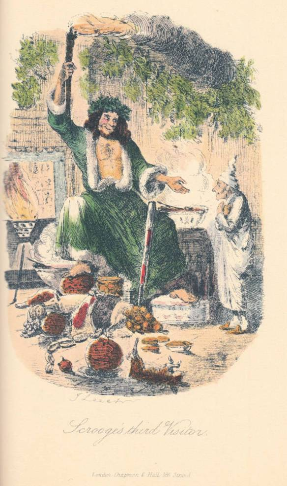 """The Second of The Three Spirits"" or ""Scrooge's third Visitor"" John Leech 1843 Steel engraving, hand-coloured 12.2 cm x 8.3 cm vignetted Fifth illustration in A Christmas Carol (London: Chapman and Hall, 1843), facing p. 78. The fifth illustration is John Leech's introduction to literature of that ""pre-Father Christmas"" figure, the Spirit of Christmas Present, not quite sitting on a ""couch"" or ""kind of throne"" (77), but decidedly ""a jolly Giant, glorious to see; who [bears] a glowing torch, in shape not unlike Plenty's horn"" (77). http://www.victorianweb.org/art/illustration/carol/5.html Scanned image and text by Philip V. Allingham."